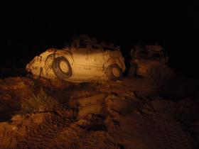 Recovery of Bogged Down Husky Vehicle at Night, Afghanistan, 2010