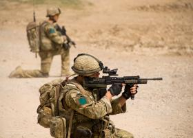 Members of A Coy 3 PARA on patrol in Chah-e Anjir, Afghanistan, Op Herrick XIII.