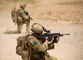Members of A Coy 3 PARA on patrol in Chah-e Anjir, Afghanistan, Op Herrick XIII.