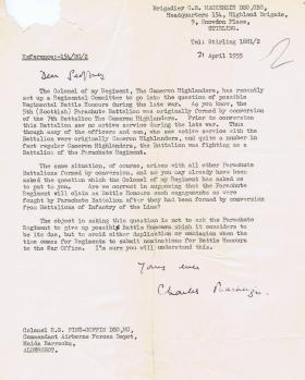 Letter regarding 5th (Scottish) Parachute Battalion Battle Honours, 21 April 1955.