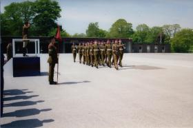 6 (Guards) Platoon, 3 Para Passing Out Parade, Pirbright, 2001 with Guards Para flag