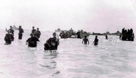 12th Para Bn coming ashore at Port Dickson, Malaya, August 1945.