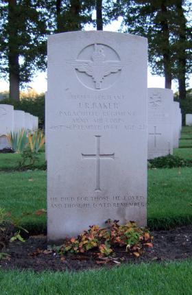 Headstone of Sgt J Baker, Oosterbeek War Cemetery, October 2015.