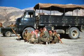 Soldiers of A Coy, 3 PARA take a break on patrol in Oman, 1961.