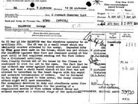 Citation for the award of the MM to W/Bdr George Halewood, 1945.
