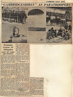 Newspaper article on 629 Airborne Light Regt training at RAF Abingdon 1955
