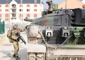 3 PARA working with a French Leclerc tank at CENZUB, France, 2012.