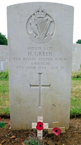 Headstone of L/Cpl Henry Greer, Ranville War Cemetery.