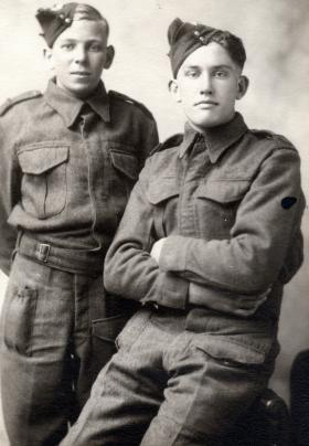 Henry Greer and Joseph Hall as young Privates, date unknown.