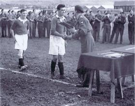 6th Airborne Div Soccer Final Winners receive a shield, Palestine, Winter 1947