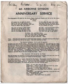 6th Airborne Anniversary Service programme, Salisbury Cathedral, c1944.