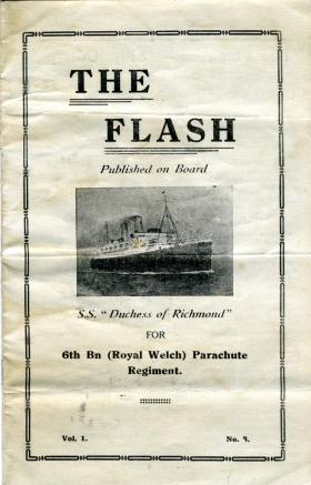Newsletter for 6th (Royal Welch) Parachute Battalion, published onboard SS Duchess of Richmond, c1945.