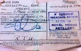 7 Para Lt Regt RHA Leave Pass, 1964.