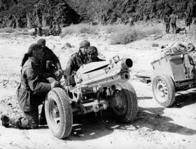 75mm pack howitzer in action, 33rd Airborne Light Regiment RA, Sinai, c1952.