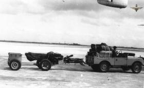 Land Rover towing a 75mm howitzer, Radfan, 1957