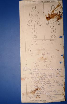 The only surviving medical card from Goose Green - complete with blood stains.