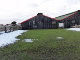 Farmer's buildings used to hold PoWs at Goose Green, 9 June 2012.