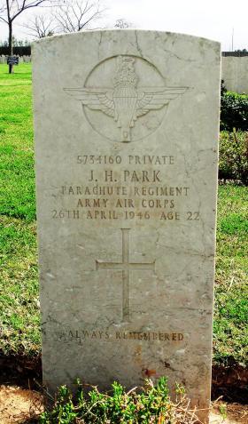 Grave of Pte J H Park, Ramleh War Cemetery, 2015.