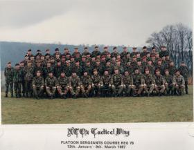 Platoon Sergeant's Senior NCO Tactical Wing course, Jan-March 1987