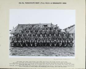 Group photograph of 10th Parachute Battalion (T.A) Warrant Officers & Sergeants' Mess 1960