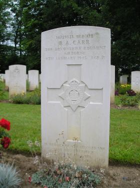 Grave of Pte R A Carr, Hotton War Cemetery, Belgium, 2011.