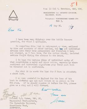 Letter regarding Battle Honours for 8th Battalion, 18 May 1956.