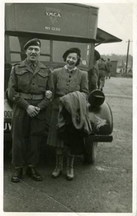 RSM 'Dusty' Miller with a lady, Bulford, 1945.