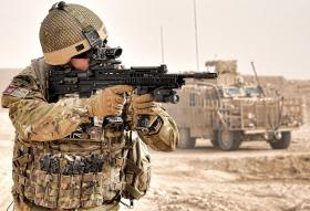 A member of 9 Parachute Squadron 23 Engineer Regiment, during the construction of Route Trident in Helmand, Afghanistan, 2012.
