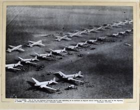 Rows of Dakota Aircraft prior to take-off for Arnhem, Sept 17th 1944