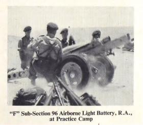 F Sub Section, 96 Airborne Light Battery at practice camp 1952