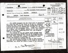 Citation for Military Medal awarded to Pte Paul M Lenton