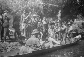 98 Patrol Guards with local Punan tribes folk at Long Luar, Sarawak, Borneo, 1964
