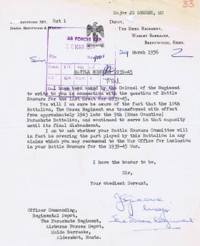 Letter regarding Battle Honours 1939-45 for 9th Battalion, 29 March 1956.