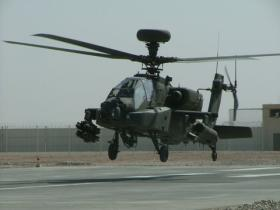 A 4 Regt AAC Apache lifting from the HALS at Bastion to support ground troops in contact, Afghanistan, 2008