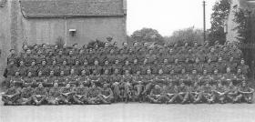 Group photograph of A Company, 2nd Parachute Battalion, Easton Hall, Lincs, June 1944.