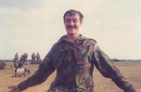 Pte Ingram (15 PARA) after his first Parachute jump, 1980s