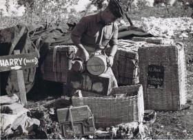 A sergeant from the Royal Army Ordinance Corps checks re-supply panniers.