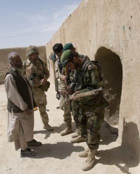 The Afghan National Army search compound