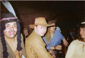 Pte Ritchie Carrol and Pte Keith Carver at A Coy, 4 PARAs 'Wild West Night', Grace Road, Liverpool, 1980s