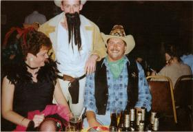 Sue Crichton, Pte Mick Corry and Pte Lee Crichton at A Coy, 4 PARAs 'Wild West Night', Grace Road, Liverpool, 1980s