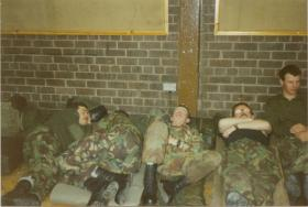 Men of A Coy, 4 PARA taking forced rest before a jump in 'Grace Road', Liverpool, 1980s