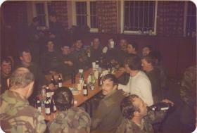 Men of A Coy, 4 PARA enjoy a night in the NAAFI in Germany, 1980s