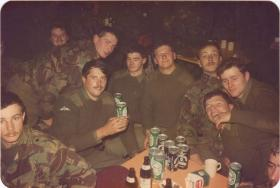 Men of A Coy, 4 PARA enjoy a few drinks in the NAAFI in Germany, 1980s