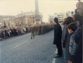 A Company, 4 PARA, march past on Remembrance Sunday, Liverpool City Centre, 1980s