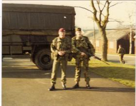 Pte Lee Crichton and Cpl Barry McWilliam training in Ripon, 1980s