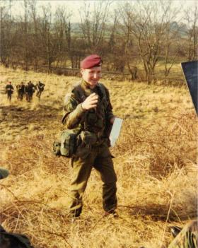 Cpl Johnny Heinz of A Coy, 4 PARA, training recruits at Ripon, 1980s