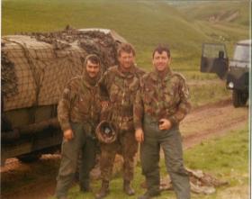 Men of A Coy, 4 PARA Mortars in Brecon training area, 1980s