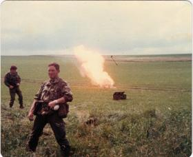 Derek Satchwell, A Coy, 4 PARA Mortars, burning the augies at the end of a live fire exercise, 1980s