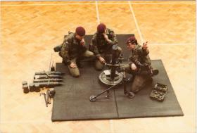 4 PARA Mortars Dry Training in the Drill Hall, at 'Grace Road', Liverpool, 1980s