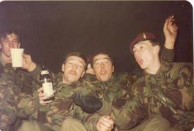 Men of 4 PARA enjoy a good night at Hameln, Germany, 1982